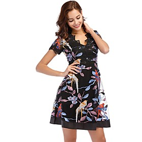 Women's A-Line Dress Short Mini Dress - Short Sleeve Floral Print Lace Zipper Summer V Neck Elegant Going out 2020 Black S M L XL XXL