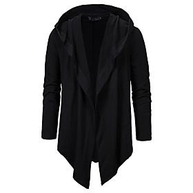 Men's Hooded Overcoat Long Solid Colored Daily Basic Long Sleeve Wool Black Dark Gray US34 / UK34 / EU42 US38 / UK38 / EU46 US42 / UK42 / EU50