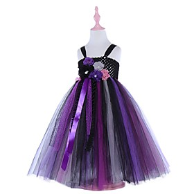 Kids Girls' Basic Color Block Halloween Layered Patchwork Sleeveless Above Knee Dress Black