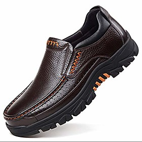 men's genuine leather casual comfy shoes slip on loafers outdoor walking shoe(numeric_10_point_5 brown)