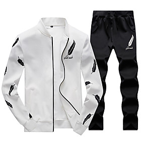 Men's 2-Piece Embroidered Tracksuit Sweatsuit Casual Long Sleeve 2pcs Thermal Breathable Soft Fitness Gym Workout Running Walking Jogging Sportswear Solid Colo