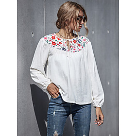 Women's T-shirt Floral Flower Long Sleeve Embroidered Print Round Neck Tops Lantern Sleeve Cotton Basic Basic Top White