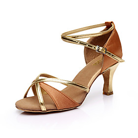 Women's Dance Shoes Latin Shoes / Ballroom Shoes / Salsa Shoes Heel Slim High Heel Customizable Black / Red / Blue / Performance / Satin / Leather / Practice