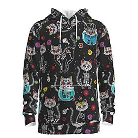 Men's Weekend Pullover Hoodie Sweatshirt Cat Graphic Hooded Casual Basic Hoodies Sweatshirts  Long Sleeve Black