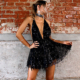 Women's A-Line Dress Short Mini Dress - Sleeveless Solid Color Sequins Tassel Fringe Summer Halter Neck Sexy Party Club 2020 Black Gold S M L XL
