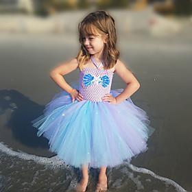 Kids Girls' Basic Color Block Halloween Mesh Patchwork Sleeveless Above Knee Dress Purple