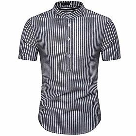 Men's Vacation Shirt Striped Short Sleeve Tops Light Blue Light Gray Dark Gray / Summer