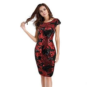 Women's A-Line Dress Knee Length Dress - Short Sleeve Print Sequins Tassel Fringe Summer Vintage Party Club Cap Sleeve 2020 White Black Red S M L XL XXL