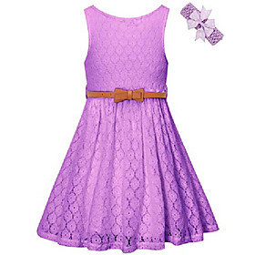 Girls summer lace party dress with belt, flower girl sleeveless lace dress for little girls, purple 6-12years