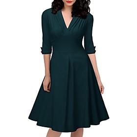 Women's A-Line Dress Knee Length Dress - Half Sleeve Solid Color Spring Summer V Neck Work Slim 2020 Green S M L XL XXL