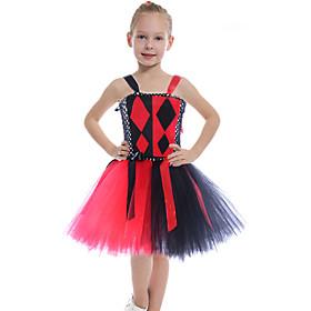 Kids Girls' Basic Black  Red Color Block Halloween Mesh Patchwork Sleeveless Above Knee Dress Black