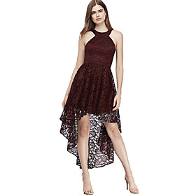 Women's A-Line Dress Knee Length Dress - Sleeveless Solid Color Lace Summer Halter Neck Sexy Party Slim 2020 Purple Wine S M L XL XXL