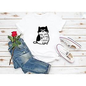 Women's T-shirt Graphic Prints Letter Print Round Neck Tops Slim 100% Cotton Basic Basic Top White Red