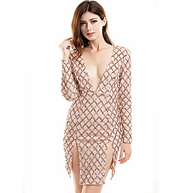 Women's A-Line Dress Short Mini Dress - Long Sleeve Solid Color Embroidered Split Summer V Neck Sexy Party Club 2020 Gold S M L XL