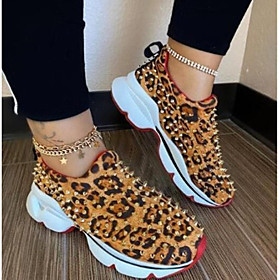 Women's Trainers / Athletic Shoes Flat Heel Round Toe Sporty Daily Rivet Leopard PU Leopard / Black / Red