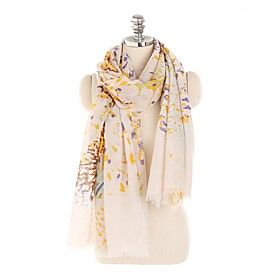 Women's Tassel Rectangle Scarf - Floral / Print Washable