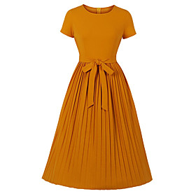 Women's Swing Dress Knee Length Dress - Long Sleeve Solid Color Fall Winter Elegant 2020 Orange S M L XL XXL