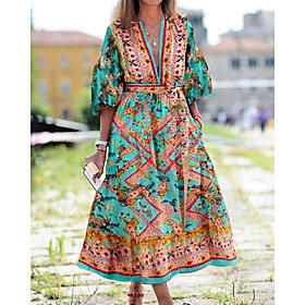 Women's A-Line Dress Knee Length Dress - Half Sleeve Tie Dye Print Summer V Neck Vintage Slim 2020 Wine Orange Green S M L XL