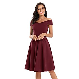 Women's A-Line Dress Knee Length Dress - Sleeveless Solid Color Bow Summer Off Shoulder Sexy Party Slim 2020 Black Wine Army Green Navy Blue S M L XL XXL