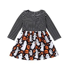 Kids Girls' Basic Black  White Striped Color Block Halloween Patchwork Long Sleeve Above Knee Dress Rainbow
