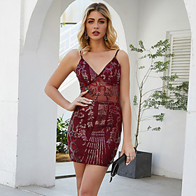 Women's A-Line Dress Short Mini Dress - Sleeveless Solid Color Sequins Summer V Neck Sexy Party Club 2020 Wine Gold S M L XL