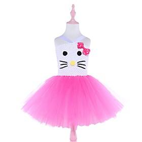 Kids Girls' Basic Color Block Cartoon Halloween Mesh Patchwork Sleeveless Above Knee Dress Blushing Pink