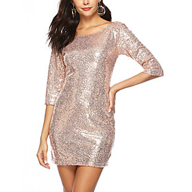 Women's A-Line Dress Short Mini Dress - 3/4 Length Sleeve Solid Color Sequins Embroidered Tassel Fringe Summer Sexy Party Club 2020 Gold S M L XL XXL