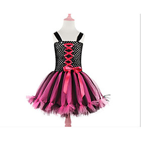 Kids Girls' Basic Black  Red Color Block Patchwork Halloween Layered Patchwork Lace Trims Sleeveless Above Knee Dress Black