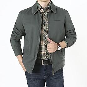 Men's Jacket Regular Solid Colored Daily Basic Long Sleeve Cotton Army Green Khaki Navy Blue US32 / UK32 / EU40 US34 / UK34 / EU42 US36 / UK36 / EU44