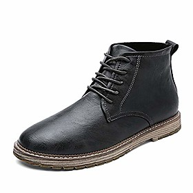 men's autumn outdoor leather lace-up high-top ankle martin boots oxford shoes (12, grey)