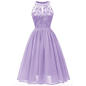 Women's A-Line Dress Knee Length Dress - Sleeveless Solid Color Embroidered Mesh Summer Halter Neck Sexy Party Slim 2020 Purple Blushing Pink Wine Light Green