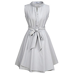 Women's A-Line Dress Knee Length Dress - Sleeveless Striped Patchwork Summer Casual Cotton Slim 2020 Gray S M L