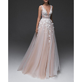 A-Line Wedding Dresses V Neck Floor Length Lace Tulle Sleeveless Country with Appliques 2020