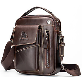 Men's Bags Nappa Leather Briefcase Zipper for Daily / Office  Career Light Coffee / Dark Brown / Black / Fall  Winter