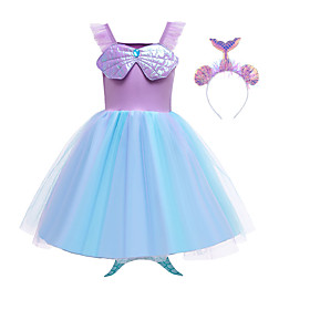 Kids Girls' Active Sweet The Little Mermaid Patchwork Mesh Sleeveless Knee-length Dress Purple