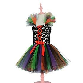 Kids Girls' Basic Black Color Block Halloween Layered Patchwork Sleeveless Above Knee Dress Black
