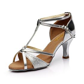 Women's Latin Shoes Heel Slim High Heel Satin Glitter Black / Red / Gold / Performance / Leather / Salsa Shoes / Practice