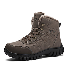 Men's Boots Casual Daily Outdoor Walking Shoes Leather Warm Wear Proof Booties / Ankle Boots Black / Brown Fall / Winter