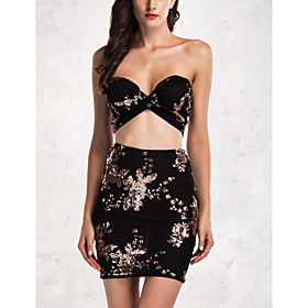 Women's A-Line Dress Short Mini Dress - Sleeveless Solid Color Backless Sequins Summer Strapless Sexy Party Club Slim 2020 White Black Gold S M L XL