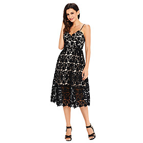Women's A-Line Dress Knee Length Dress - Sleeveless Solid Color Lace Patchwork Summer V Neck Sexy Party Club Slim 2020 White Black Blue Red S M L XL