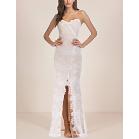 Women's A-Line Dress Maxi long Dress - Sleeveless Floral Print Lace Backless Split Summer Strapless Sexy Party Club 2020 White S M L XL