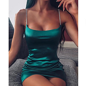 Women's A-Line Dress Short Mini Dress - Sleeveless Solid Color Patchwork Summer Strapless Sexy Party Club Slim 2020 Black Wine Fuchsia Green S M L XL