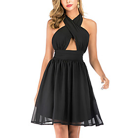 Women's A-Line Dress Knee Length Dress - Sleeveless Solid Color Backless Summer Halter Neck Sexy Party Club 2020 Black S M L XL XXL