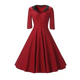 Women's A-Line Dress Knee Length Dress - Half Sleeve Solid Color Summer V Neck Elegant Slim 2020 Blue Wine S M L XL XXL