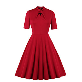Women's Swing Dress Knee Length Dress - Short Sleeve Solid Color Patchwork Zipper Print Fall Vintage Slim 2020 Red S M L XL XXL