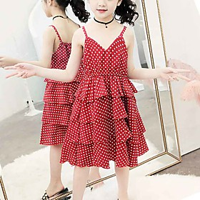 Kids Girls' Cute Black  White Red Fantastic Beasts Polka Dot Lace Layered Ruched Sleeveless Midi Dress Red