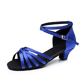 Women's Dance Shoes Latin Shoes / Ballroom Shoes / Line Dance Heel Cuban Heel Customizable Navy / Leopard / Black / Performance / Satin / Leather / Practice