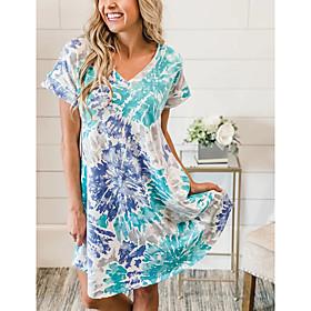 Women's A-Line Dress Knee Length Dress - Short Sleeve Print Print Summer V Neck Casual Loose 2020 Blue S M L XL