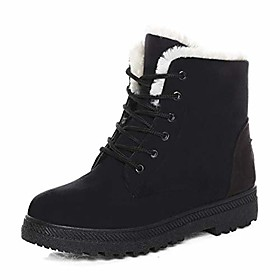winter snow boots for women comfortable outdoor anti-slip ankle boots suede cotton warm fur lined booties lace up flat platform shoes black