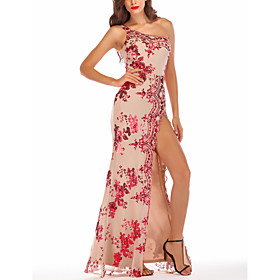 Women's A-Line Dress Maxi long Dress - Sleeveless Floral Backless Embroidered Split Summer One Shoulder Sexy Party Club 2020 Black Red Gold S M L XL